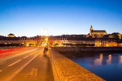 Blois-Kathedrale an der Dämmerung Lizenzfreie Stockfotografie