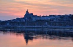Blois Kathedrale-Sonnenuntergangleuchte Stockfoto