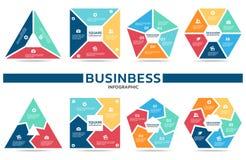 Blok infographic dla biznesowego wektoru ustalonego projekta (część trzy, część cztery, część Pięć i część sześć,) ilustracja wektor