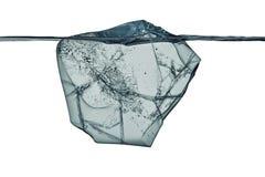 Blok lód z podwodnym widokiem z ścinek ścieżką Obraz Stock