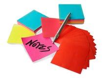 blok notatek długopisy srebra obraz stock