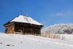 Blokhuis in de winterlandschap Royalty-vrije Stock Foto
