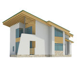 Blokhuis met een groen dak Stock Fotografie