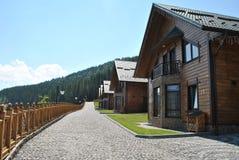 Blokhuizen in de bergen Royalty-vrije Stock Foto's