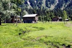 Blokhuizen in de vallei en het landschap Stock Fotografie