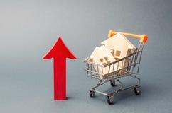 Blokhuizen in een supermarktkarretje en een rode pijl omhoog Het concept het verhogen van de kosten van huisvesting Hoge vraag na royalty-vrije stock foto