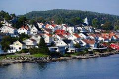 Blokhuizen in havenstad, Noorwegen Royalty-vrije Stock Afbeeldingen