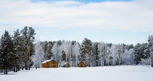 Blokhuizen op een aardgebied met sneeuw wordt behandeld die stock fotografie