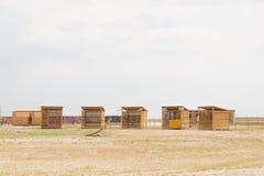 Blokhuizen op het gebied Royalty-vrije Stock Foto's