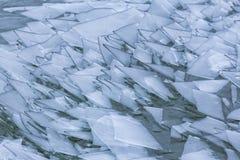 Bloki lód na jeziornym Balaton Węgry Zdjęcie Royalty Free