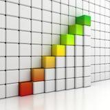 Blokkeert groeiend staafdiagram op witte muur Stock Foto