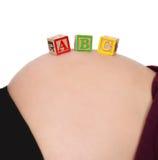 Blokken ABC die op naakte zwangere buik rusten Stock Foto's