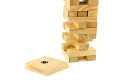 Blokken houten spel (jenga) Royalty-vrije Stock Afbeeldingen