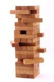 Blokken houten spel op witte achtergrond Stock Afbeeldingen