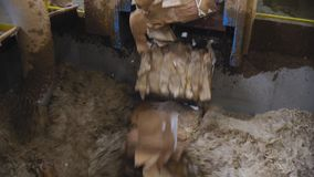 Blokken van papierafvaldaling neer in hete cellulose bij installatie stock video