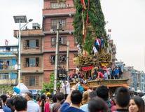 Blokkenwagen van regenrato Machhindranath optocht in Patan, Nepal Royalty-vrije Stock Afbeelding