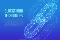 Blokketen Crypto munt Blockchainconcept 3D wireframeketen met digitale blokken Het malplaatje van Editablecryptocurrency voorraad Royalty-vrije Stock Afbeelding