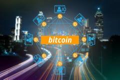 Blokketen netwerk, Bitcoin, Digitaal geld royalty-vrije stock foto's
