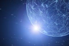 Blokketen netwerk met futuristisch gebied royalty-vrije stock afbeelding