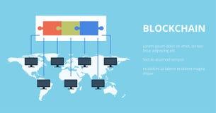 Blokketen Technologie vectorillustratie Het openbare gegevensbestand van transacties wordt op computers geregistreerd die op hetz vector illustratie