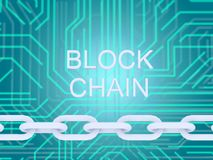 Blokketen tekst en elektrokring en ketting op blauwe achtergrond 3D illustrationn stock illustratie