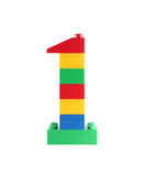 Blokowa zabawka liczba 1 jeden Zdjęcia Royalty Free