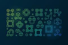 Blokowego łańcuchu barwiony sztandar Wektorowa blockchain ilustracja ilustracji