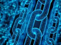 Blokowego łańcuchu pojęcie - cyfrowy kodu łańcuch royalty ilustracja