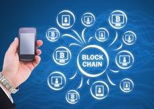 Blokowego łańcuchu sieci ikony i ręki mienie dzwonią Obrazy Stock