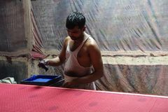 Blokowego druku sari tkanina w Jaipur, India Zdjęcie Stock