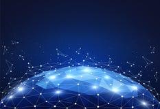 Blokowi globalnej sieci związki z punktami i linie na światowej mapie Wireframe sieci komunikacje ilustracji