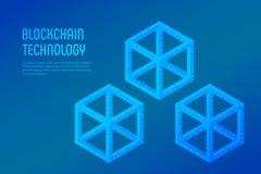 Blokowy łańcuch Crypto waluta Blockchain pojęcie 3D isometric cyfrowy blok z cyfrowym kodem Editable Cryptocurrency szablon ilustracji