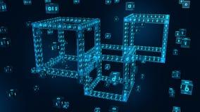 Blokowy łańcuch Crypto waluta Blockchain pojęcie 3D isometric cyfrowy blok z cyfrowym kodem Editable Cryptocurrency szablon royalty ilustracja