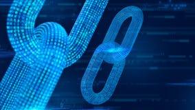 Blokowy łańcuch Crypto waluta Blockchain pojęcie 3D wireframe łańcuch z cyfrowym kodem Editable Cryptocurrency szablon 3d illus royalty ilustracja