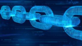 Blokowy łańcuch Crypto waluta Blockchain pojęcie 3D wireframe łańcuch z cyfrowym kodem Editable Cryptocurrency szablon 3d illus ilustracja wektor