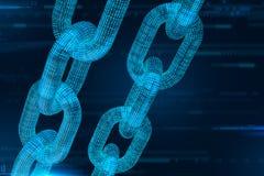 Blokowy łańcuch Crypto waluta Blockchain pojęcie 3D wireframe łańcuch z cyfrowym kodem Editable Cryptocurrency szablon 3d illus ilustracji