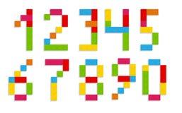 Blokowych liczb znaka wektoru ilustracja Fotografia Royalty Free