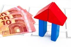 Bloku domu pieniądze klucz Obrazy Stock