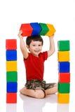 blokuje chłopiec bawić się Zdjęcia Stock