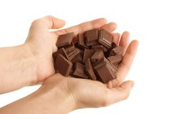 blokuje czekolady ręk target874_1_ Obraz Stock