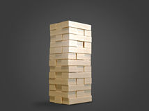 Blokuje drewnianego gemowego jenga na czarnym tle Obraz Royalty Free