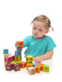 blokuje dziewczyny bawić się trochę drewniany Obrazy Royalty Free