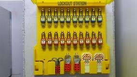 Blokuje out & Oznacza out, lokout stacja, maszyna - odmianowi lokout przyrząda Fotografia Stock