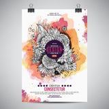 Blom- affisch för vektorvattenfärgmålarfärg Arkivbilder
