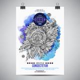 Blom- affisch för vektorvattenfärgmålarfärg Royaltyfria Foton