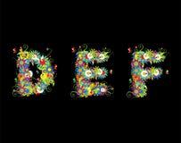 blom- alfabetdesign Arkivbild