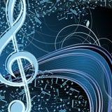 Blom- bakgrund för blå musik: melodi anmärkningar, tangent, swirly royaltyfri illustrationer