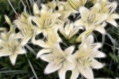 Blom- bakgrund för Fractal av liljor Fotografering för Bildbyråer