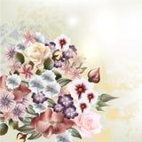 Blom- bakgrund för mode med buketten av blommor stock illustrationer
