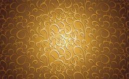 Blom- bakgrund för tappning i guld Arkivbilder